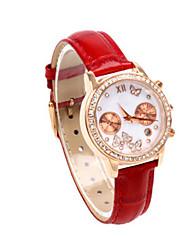 Недорогие -Жен. Спортивные часы Модные часы Кварцевый Натуральная кожа Красный 30 m Педометры Аналоговый Кулоны - Красный