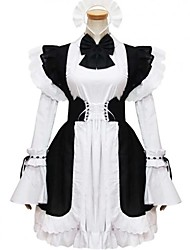 cheap -Princess Gothic Lolita Dress Maid Suits Women's Girls' Cotton Japanese Cosplay Costumes Plus Size Customized Black Ball Gown Solid Color Fashion Cap Sleeve Long Sleeve Short / Mini / Tuxedo