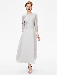 cheap -Sheath / Column Jewel Neck Ankle Length Chiffon / Lace 3/4 Length Sleeve Elegant / See Through Mother of the Bride Dress with Crystals 2020 / Illusion Sleeve