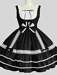 cheap -Princess Gothic Lolita Dress JSK / Jumper Skirt Women's Girls' Japanese Cosplay Costumes Black Solid Color Sleeveless Knee Length / Petticoat