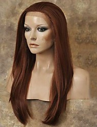 cheap -Synthetic Lace Front Wig Straight Straight Lace Front Wig Long Black#1B Auburn Synthetic Hair Women's Natural Hairline Red StrongBeauty