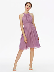 cheap -A-Line Jewel Neck Knee Length Chiffon Bridesmaid Dress with Sash / Ribbon / Pleats