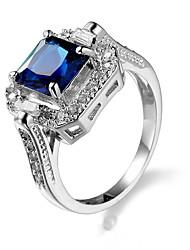 cheap -Women's Ring Sapphire Cubic Zirconia Blue Zircon Alloy Ladies Unique Design Fashion Wedding Party Jewelry Halo