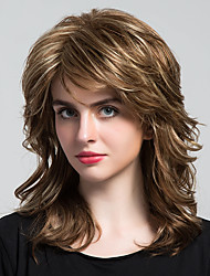 cheap -Human Hair Capless Wigs Human Hair Curly Layered Haircut / With Bangs Halle Berry Hairstyles Side Part Medium Length Machine Made Wig Women's
