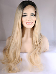 cheap -Synthetic Lace Front Wig Wavy Blonde Synthetic Hair Ombre Hair / Dark Roots / Natural Hairline Blonde Wig Women's Medium Length / Long Lace Front