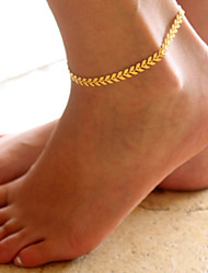 cheap -Anklet feet jewelry Ladies Simple Fashion Women's Body Jewelry For Daily Casual Classic Thick Chain Alloy Leaf Gold Silver 1pc