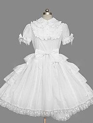 cheap -Princess Sweet Lolita Summer Dress Women's Girls' Cotton Japanese Cosplay Costumes Plus Size Customized White Ball Gown Vintage Cap Sleeve Short Sleeve Short / Mini