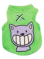 cheap -Cat Dog Shirt / T-Shirt Vest Dog Clothes Animal Red Green Blue Pink Cotton Costume For Pets Summer Men's Women's Casual / Daily