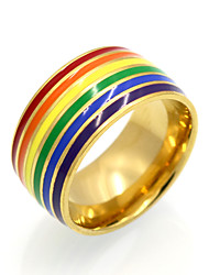 cheap -Men's Women's Band Ring Statement Ring Ring Gold Silver 18K Gold Plated Titanium Steel Round Circular Geometric Personalized Geometric Unique Design Wedding Party Jewelry Rainbow
