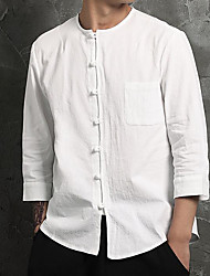 cheap -Men's Daily Weekend Casual / Chinoiserie Cotton / Linen Shirt - Solid Colored Round Neck White / Long Sleeve / Spring / Fall