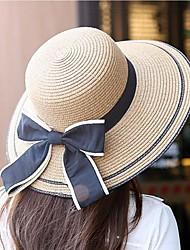 Недорогие -Жен. Праздник Соломенная шляпа-Чистый цвет Полиэстер Солома,Однотонный Весна Лето Бежевый Хаки / Очаровательный