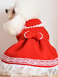 cheap -Dog Dress Christmas Dog Clothes Bowknot Red Blue Pink Costume For Winter N / A