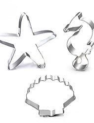cheap -3pcs Ocean Scenario Cookies Cutter Starfish Hippocampus Sea Shell Stainless Steel Cake Mold