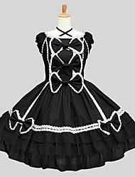 cheap -Classic Lolita Rococo Dress Women's Girls' Japanese Cosplay Costumes Black Solid Color Short Sleeve Knee Length / Classic Lolita Dress