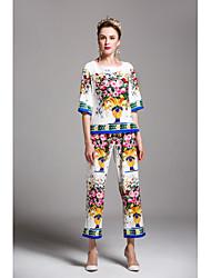 cheap -Women's Cute Shirt - Multi Color, Print High Waist Pant