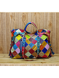 cheap -Women's Rivet / Plaid Cowhide Tote Rainbow
