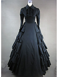 cheap -Rococo Victorian 18th Century Dress Party Costume Masquerade Women's Cotton Costume Black Vintage Cosplay Party Prom Long Sleeve Floor Length Ball Gown