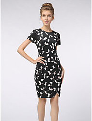 cheap -Women's Plus Size Work Shift Dress - Floral Summer Black XL XXL XXXL