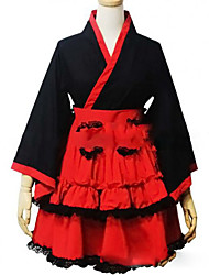 cheap -Princess Wa Lolita Dress Japanese Traditional Kimono Women's Girls' Cotton Japanese Cosplay Costumes Plus Size Customized Red Ball Gown Vintage Cap Sleeve Long Sleeve Short / Mini