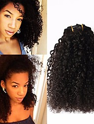 cheap -8A  Kinky Curly Clip In Human Hair Extensions Filipino 100% Human Remy Hair Human Hair 120g/Set Natural Color