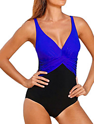 cheap -Women's Plus Size Strap White Fuchsia Yellow Wrap Briefs One-piece Swimwear Swimsuit - Color Block Black & White Patchwork M L XL White