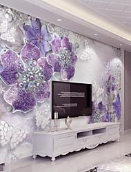 cheap -Purple Flash Silver Diamond Flower Custom 3D Large Wall Cover Mural Wallpaper Fit Coffee Room Bedroom Kitchen Art Flowe
