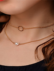 cheap -Women's Obsidian Choker Necklace Pendant Necklace Chain Necklace Single Strand Ladies Dangling Imitation Pearl Earrings Jewelry Gold / Silver For Party Special Occasion Daily Casual Outdoor