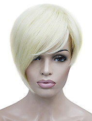 cheap -Synthetic Wig Straight Style Asymmetrical Wig Blonde Bleached Blonde Synthetic Hair Women's Side Part Blonde Wig Short