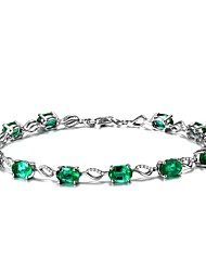 cheap -Women's Synthetic Emerald Chain Bracelet Emerald Cut Ladies Natural Fashion Emerald Bracelet Jewelry Green For Wedding Party Birthday Event / Party Masquerade Engagement Party