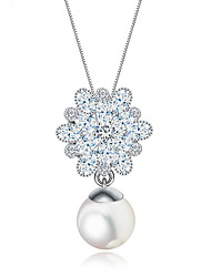cheap -Women's Pendant Necklace Unique Design Fashion Euramerican Pearl Zircon Alloy White Necklace Jewelry For Wedding Party Birthday Congratulations Party / Evening