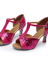 Недорогие -Жен. Танцевальная обувь Блестки Обувь для латины Пайетки Сандалии Каблуки на заказ Персонализируемая Пурпурный / В помещении / Кожа