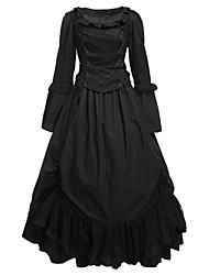 cheap -Gothic Lolita Dress Women's Girls' Cotton Party Prom Japanese Cosplay Costumes Plus Size Customized White Ball Gown Solid Colored Long Sleeve Long Length