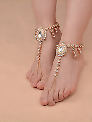 cheap -Women's Pearl Barefoot Sandals Drop Ladies Vintage Fashion Yoga Imitation Pearl Anklet Jewelry Gold / Silver For Daily Casual