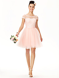cheap -Ball Gown Jewel Neck Knee Length Tulle / Corded Lace Bridesmaid Dress with Appliques / Sash / Ribbon / Pleats