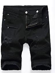 abordables -Homme Basique Grandes Tailles Quotidien Mince / Short Pantalon - Couleur Pleine Découpé / Déchiré Eté Blanche Noir 36 38 35