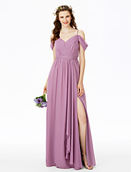 cheap -Sheath / Column Spaghetti Strap Floor Length Chiffon Bridesmaid Dress with Split Front