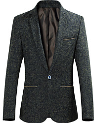 cheap -Men's Business Casual Slim Blazer-Solid Colored / Short Sleeve / Long Sleeve / Work