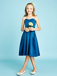 cheap -A-Line Sweetheart Neckline Knee Length Satin Junior Bridesmaid Dress with Sash / Ribbon / Natural
