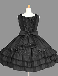 cheap -Princess Gothic Lolita Punk Vacation Dress Dress Prom Dress Women's Girls' Cotton Japanese Cosplay Costumes Plus Size Customized Black Ball Gown Solid Color Fashion Cap Sleeve Short Sleeve Short