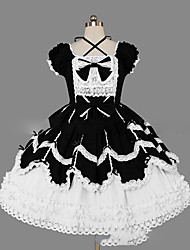 cheap -Princess Gothic Lolita Dress Women's Girls' Cotton Japanese Cosplay Costumes Plus Size Customized Black Ball Gown Vintage Cap Sleeve Short Sleeve Short / Mini