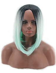 cheap -Cosplay Costume Wig Synthetic Wig Straight Bob Asymmetrical Wig Short Medium Length Green Synthetic Hair Women's Middle Part Bob Natural Hairline Green