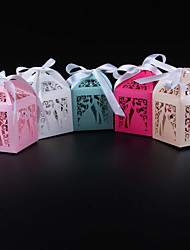 cheap -Cuboid Pearl Paper Favor Holder with Ribbons Favor Boxes - 50