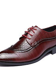 cheap -Men's Dress Shoes Derby Shoes Spring / Fall British Wedding Party & Evening Office & Career Oxfords Walking Shoes Leather Non-slipping Wear Proof Black / Red / Brown Gradient / EU40