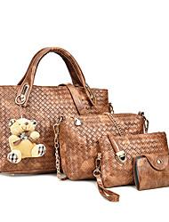 cheap -Women's PU Bag Set Bag Sets Solid Colored 4 Pieces Purse Set Black / Brown / White