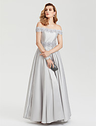 cheap -A-Line Floral Evening Party Formal Prom Dress Off Shoulder Short Sleeve Floor Length Satin with Pleats Beading Flower 2020