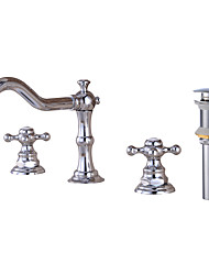 cheap -Delicate Bathroom Sink Faucet - Clawfoot Chrome Widespread Two Handles Three HolesBath Taps