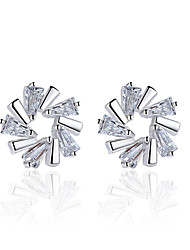 cheap -Women's AAA Cubic Zirconia Stud Earrings Flower Flower Snowflake Ladies Sterling Silver Earrings Jewelry Silver For Wedding Party Daily Casual Masquerade Engagement Party