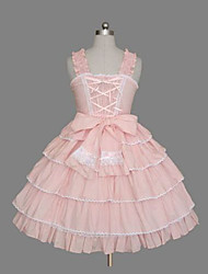 cheap -Princess Sweet Lolita Classic Lolita Dress JSK / Jumper Skirt Women's Girls' Cotton Japanese Cosplay Costumes Plus Size Customized Pink Ball Gown Solid Color Fashion Vintage Cap Sleeve Sleeveless