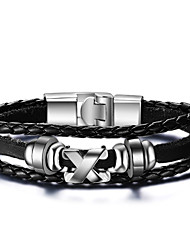 cheap -Men's Leather Bracelet woven Rock Fashion Hip-Hop Movie Jewelry Initial Leather Bracelet Jewelry Black For Christmas Gifts Birthday Gift Sports