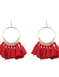 cheap -Women's Drop Earrings fan earrings Raffia Earrings Tassel Ladies Personalized Tassel Fashion Euramerican Earrings Jewelry Depression Pink / Rainbow / Light Green For Wedding Anniversary Birthday